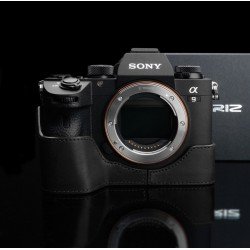 Half case GARIZ do Sony A9 Czarny z naturalnej skóry