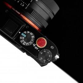 Aluminiowy soft button ze skórą / miękki spust Gariz XA-SBLR wkręcany - czerwony