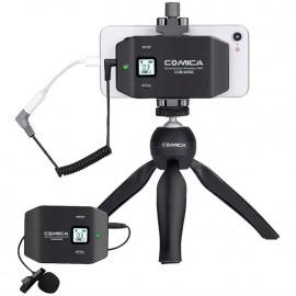 Comica CVM-WS50C Mikrofon bezprzewodowy krawatowy do smartfona z mini statywem TRRS jack 3,5mm