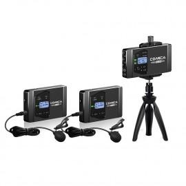 Comica WS60 COMBO Zestaw bezprzewodowy z dwoma nadajnikami z mikrofonami krawatowymi i jednym odbiornikiem
