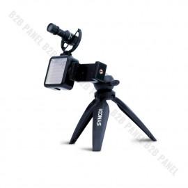 Synco Vlogger Kit 2 zestaw mikrofon M1S, lampa LED, uchwyt MOBILE, statyw