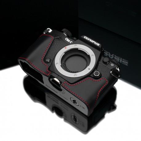 Half case GARIZ do Olympus OM-D EM5 mark II XS-CHEM5IIBKR Czarny z obszyciem czerwoną nitką